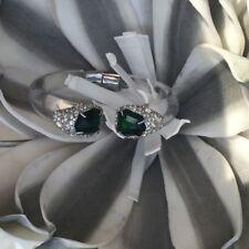 Alexis Bittar Emerald Crystal Transparent Lucite Cuff Bracelet $320