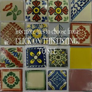 Hand-Made Ceramic Mexican Wall Tiles Hand Painted Mexico Terracotta VARIOUS