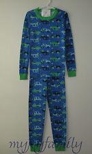 HANNA ANDERSSON Organic Long Johns Pajamas Crazy Cars Blue 140 10 NWT