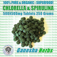 CERTIFIED ORGANIC Chlorella & Spirulina 500X500mg Tablets 250 Grams Superfood!