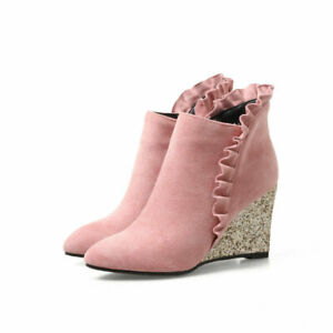 UK Ladies Glitter Wedge Heels Ankle Boots Pointy Toes Faux Suede Ruffle Shoes