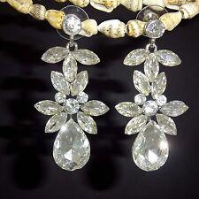 Rhodium Plated Bauhinia Clear Crystal earrings Water Drop Earrings