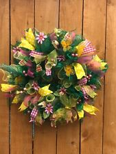 Beautiful Welcome Friends Flowers Wreath, Anytime Wreath, Yellow Green Wreath
