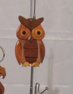 NATURAL COLOR HARDWOOD CARVED INTARSIA WOOD ORNAMENT OWL