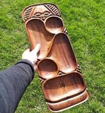 More details for large vintage carved wooden serving snack tray tiki