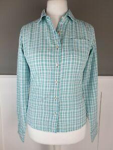 NORTH FACE Womens Shirt Green White Check Small Hiking Walking Top Pocket Casual