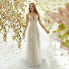 New Lace Dress V Neck Sleeveless Bridesmaid Mesh Long Wedding Formal Gown Fairy
