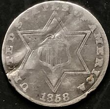 USA 1858 Three Cent Silver Trime 3 Cents Philadelphia Silber Selten 4373