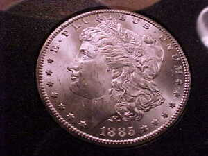 1885-CC GSA Brilliant Uncirculated Morgan Silver Dollar with original box.