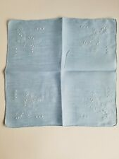 Vintage Ladies Hankie Blue With White Embroidery