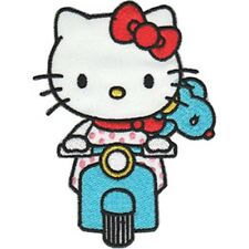 Hello Kitty Scooter Embroidered Patch / Iron On Applique, Anime, Kids