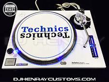 2 custom white powder coated Technics SL1200 mk2 with blue leds Halos turntables