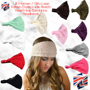 UK Women / Girls Lace Pattern Elastic Wide Stretch Head-Wrap Bandanna Headbands