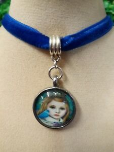 P47 Silver Cabochon Girl Blue Bird Velvet Choker Pendant Necklace Kawaii Goth