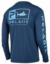 NEW Pelagic Men's Aquatek Icon Tech Shirt Navy UPF 50+ Stain Repel