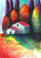 ACEO Italy landscape surreal fantasy abstract original painting art