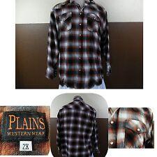 Vtg Plains Western Wear Pearl Snap Flannel Shirt Shadow Plaid Browns Size 2X