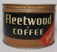 Vintage 1950s FLEETWOOD GRAPHIC KEYWIND COFFEE TIN 1 POUND CHATTANOOGA TENNESSEE