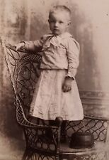1890's Cabinet Card Photo CUTE YOUNG BOY IN GINGHAM GOWN DRESS Amsterdam NY