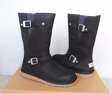 UGG Kensington Black Leather Sheepskin Moto Boots Kids 5US fits Women 7US NIB