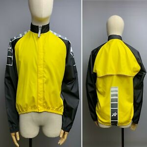 ASSOS Cycling Jacket Size 1 Mens Full Zip Yellow Black Windproof Ligthweight Top