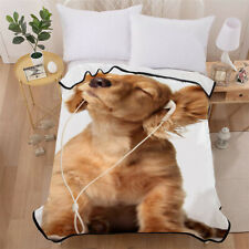 Dog Soft Blanket Throw Rug Warm Micro Plush Fleece Sofa Bedding Lovely Animal