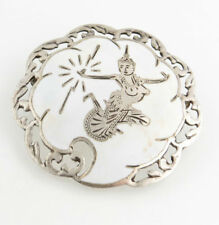 Vintage Asian Fashion Estate Enamel Round Siam Brooch - Sterling Silver 925 Pin
