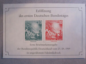 West Germany - 1949 Opening of Parliament - stamps printed on souvenir m/sheet