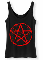 Pentagram Tank Top SCREENPRINTED Ladies Womens Rock Goth Punk vest Biker Gothic