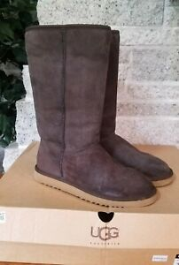 UGG 5815 CHOCOLATE BROWN CLASSIC TALL SUEDE SHEARLING PULL ON  BOOTS SIZE US 7