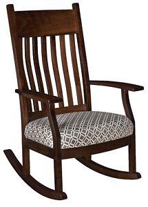 Amish Shaker Craftsman Solid Wood Rocking Chair Rocker Bent Slat Upholstered