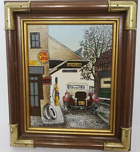 H Hargrove gas station car wash Oil Painting mechanic Signed Certified original
