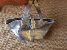 Meli Melo Mini Cracked Silver Metallic  Leather Bag