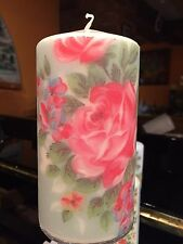 CATH KIDSTON ENGLISH ROSE BLUE HAND DECORATED PILLAR CANDLE 90hrs 15x8 LIMITED!