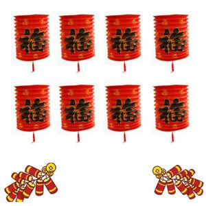 8X Chinese New Year Red Paper Lanterns Chinese Hang Lantern Hanging Decoration