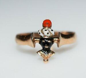 Rare Vintage Venetian Moretto Blackamoor Gold and Enamel Ring Italy c.1890