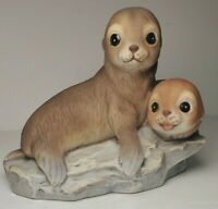 Vintage ©1981 HOMCO Masterpiece Porcelain Figurine Two Baby Seals