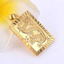 Vintage Womens Mens Couple Dragon Pendant Yellow Gold filled Fit Long Necklace