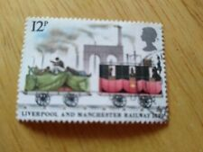 12P POST OFFICE STAMP POSTCARD LIVERPOOL and MANCHESTER RAILWAY 1830