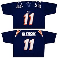 Vintage LOGO 7 New England Patriots Drew Bledsoe Jersey Blue Made USA XXL 2XL