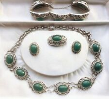 Chinese Export Silver Parure Jade Argent Chinois Chine Antique 19th
