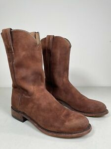 Men's Lucchese Roper Boots Lincoln Suede Handmade Cognac Size 10.5 N3565.C2