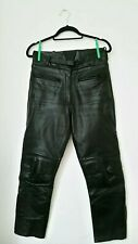RAYVEN LEATHER Motor Bike Cycle Trousers Size 10 Black Thick Outwear Pants