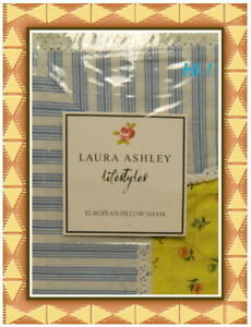 NEW Laura Ashley Lifestyles Blue/White Stripes with Floral European Sham