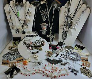 Halloween Gothic Bats Skulls Cats Jewelry Earrings Necklaces Rings Bracelet Lot