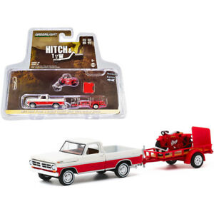 1972 Ford F-100 Pickup Truck Cream and Red and Utility Trailer with 1920 Indi...