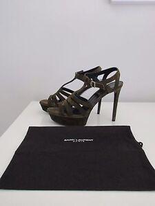 Saint Laurent Tribute Suede Olive Green T Strap Platform Sandals Shoes Size 40