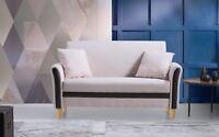 Modern 2 Tone Small Space Linen Fabric Loveseat Sofa (Beige)
