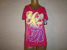 YOUNG AND RECKLESS WOMEN'S PINK GRAPHIC V-NECK T-SHIRT size XS/X-Small