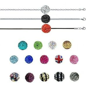 Necklace Crystal Ball Disco & Chain Stainless Steel New of Your Choice